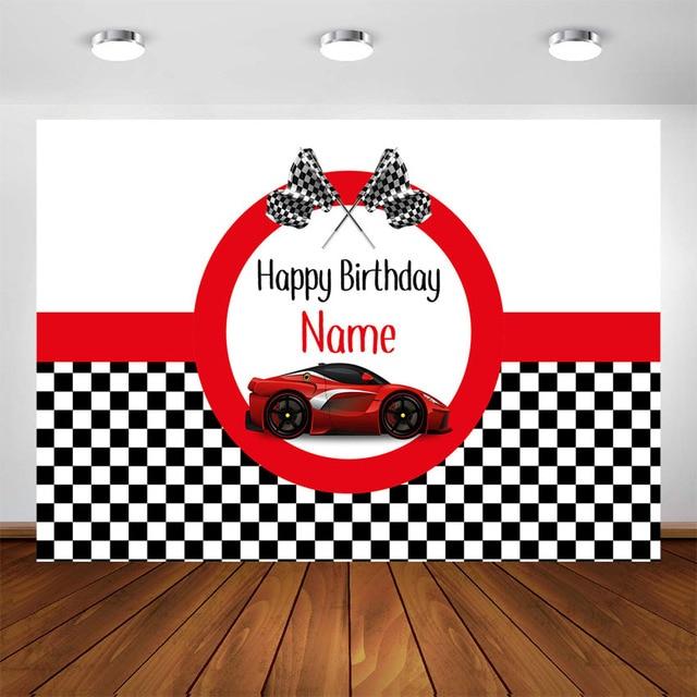 Course voiture anniversaire toile de fond personnalisé rouge course voiture garçon course enfants fête décorations arrière plan Photocall