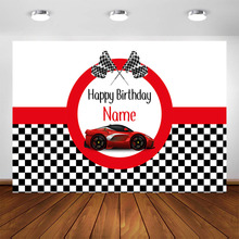 Race Car Birthday Backdrop Customized Red Race Car Boy Racing Children Party Decorations Background Photocall