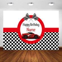 Rennen Auto Geburtstag Hintergrund Angepasst Rot Rennen Auto Junge Racing Kinder Party Dekorationen Hintergrund Photo
