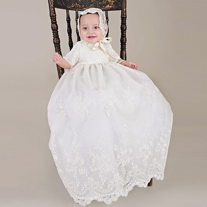 With Hat Baby Girls Christening Baptism Dress Long Embroidery Glorious Ivory Embroidered Netting Christening Gowns 0