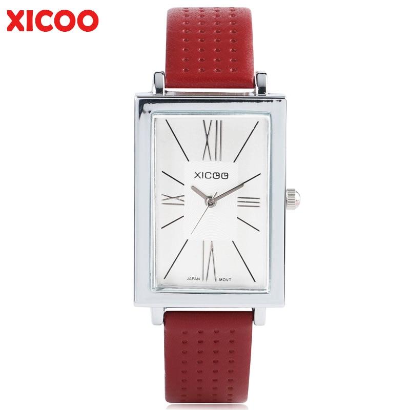 где купить XICOO Female Wrist Watch for Women Ladies Rectangle Small Dial Genuine Leather Strap Casual Trendy Montre Femme Relogio Feminino по лучшей цене