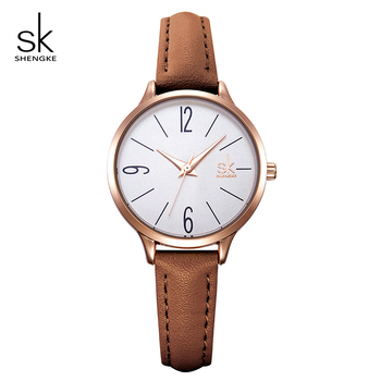 Shengke Brand New Simple Ladies Quartz Watch Women Leather Strap Fashion SK Women Wrist Watches 2019 Montre Femme Female Clock image