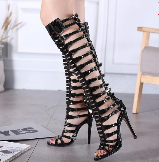 Black patent leather cut-outs gladiator sandal boots peep toe high heel knee high boots woman fashion stiletto super heels shoes patent leather knee high fashion women boots buckle strap cool motorcycle boots thin high heels cut outs sandals boots shoes