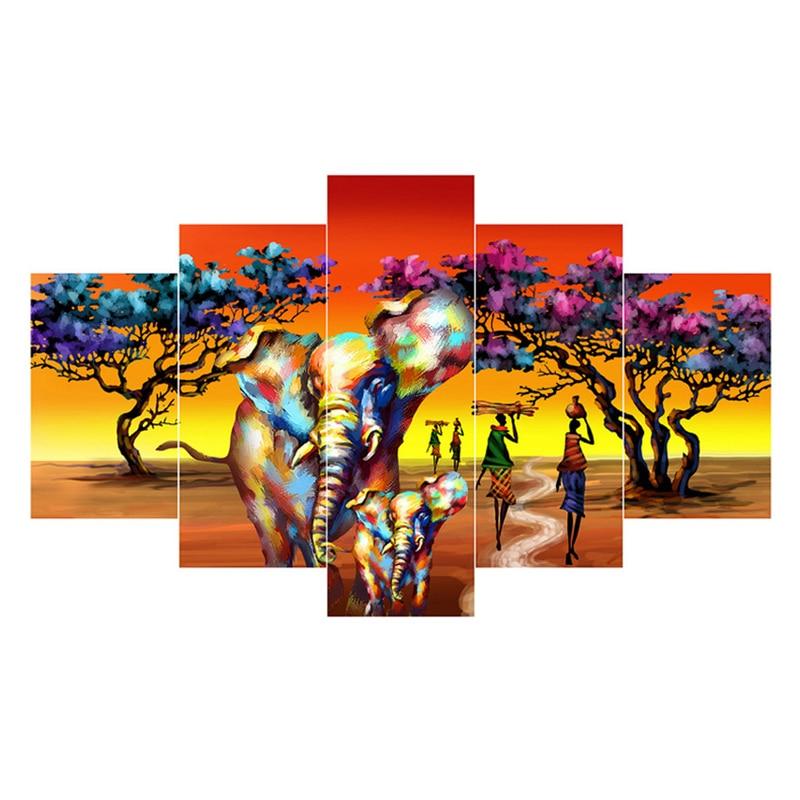 5pcs diy Diamond Painting Cross Stitch African elephant full square Diamond Mosaic beaded Embroidery Rhinestones H299