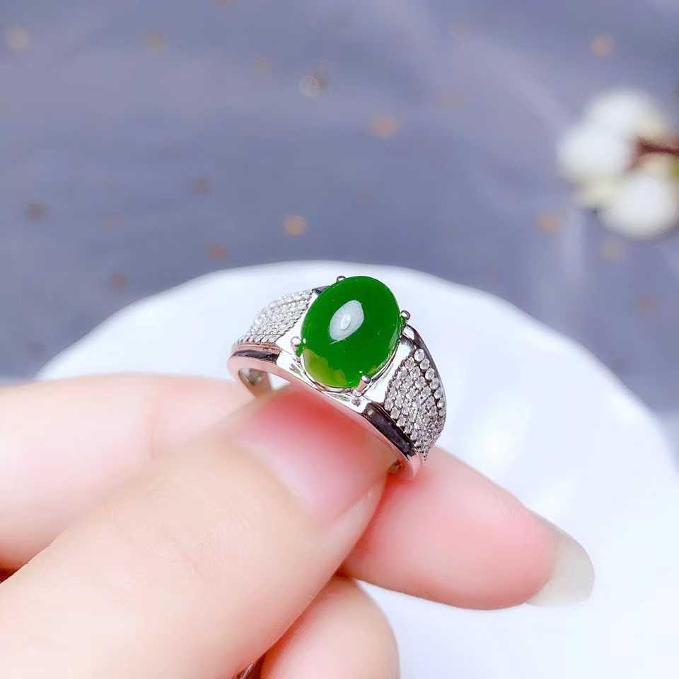 สีเขียว Hetian หยกแหวนเงินเครื่องประดับ