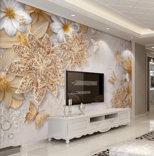 aangepaste mural behang voor slaapkamer muren 3d luxe gouden sieraden bloem vlinder achtergrond muur papers home decor woonkamer in aangepaste mural behang