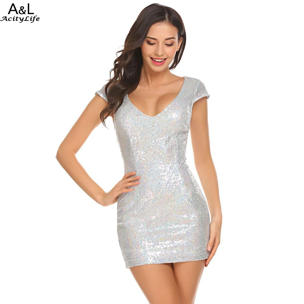 2b1600b8853 FANALA 2018 Sexy Metal Sequined Party Dresses Silver Summer Dress Vestidos  V neck Cap Sleeve Sequins Pencil Dress Plus Size-in Dresses from Women s  Clothing ...