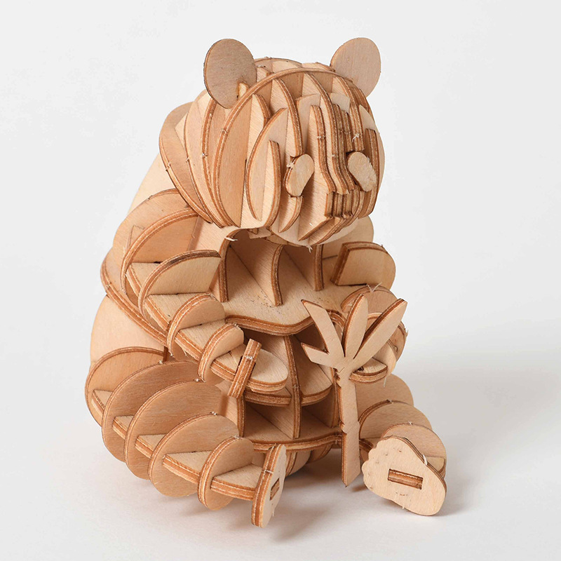 Laser Cutting DIY Animal Cat Dog Panda Toys 3D Wooden Puzzle Toy Assembly Model Wood Craft Kits Desk Decoration for Children Kid(China)