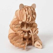 Puzle de madera 3D DIY de corte láser para niños, juguete de ensamblaje de animales, gato, perro, Panda, Kits de artesanía de madera, decoración de escritorio