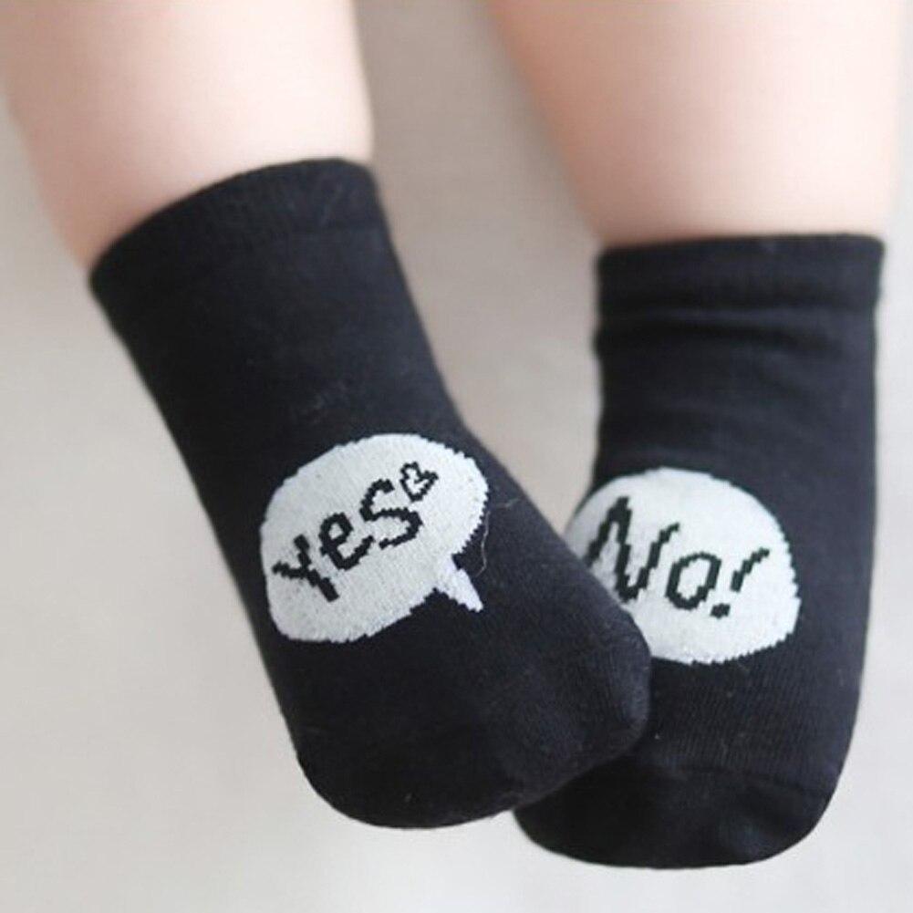 2017 вещи младенцев Meia английские буквы да нет носки для маленьких мальчиков девочек Meias Infantil Kawaii Носки милые носки