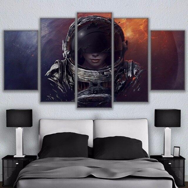 5 Paneles de Calidad Pintura Al Óleo Mujer Astronauta Universo ...