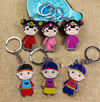 wholesale 10PCS Chinese style cute keychain Chinese style Qing Dynasty men and women clothing key chain