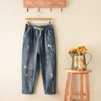 Nieuwe 2017 Hoge Taille Jeans Dames Gaten Losse Katoenen Denim Patch Werk Broek Stretch Womens Bleach Ripped Denim Jeans Voor vrouwelijke