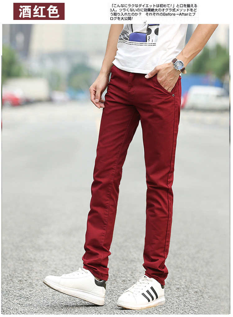 Business Casual Pants 11 Colors New Casual Pencil Pants Men Slim Pant Straight Trousers Solid Leisure Zipper Spring Summer k919 37