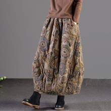 Autumn Winter Skirt Retro Women Elastic Waist Loose Skirt Print pocket Thicker Warm Ladies Blended Casual Skirt 2018