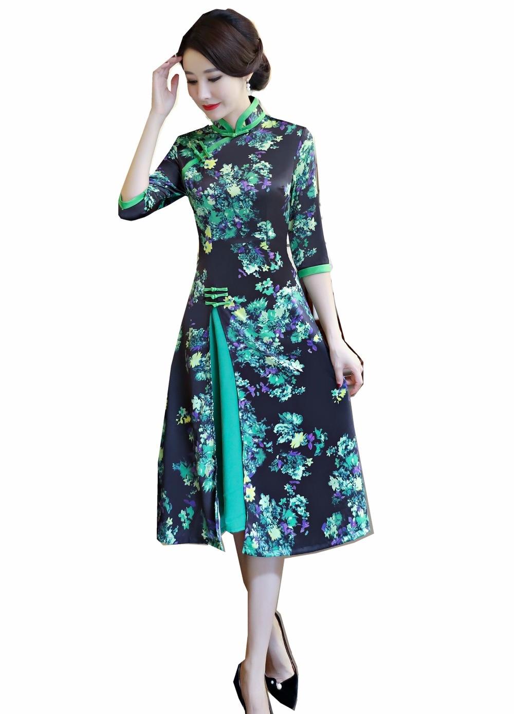 Платье До Колена в стиле чонсам вьетнамский стиль|ao dai|ao dai dressesvietnamese traditional dress |