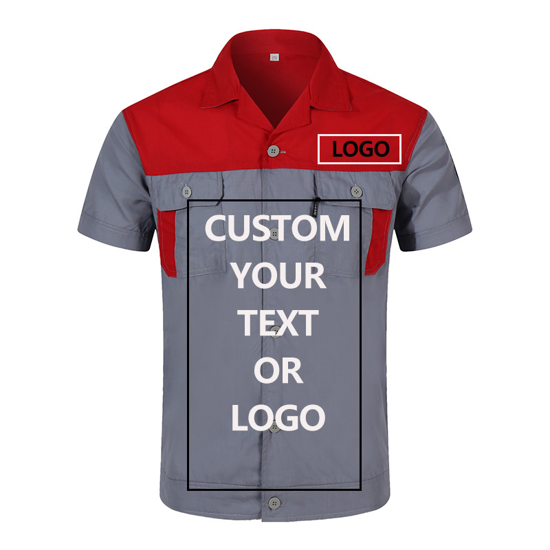 Custom Logo Workwear For Men Tops And Pants Repairman Auto Mechanics High Quality Work Clothing Two Pocket T-shirt