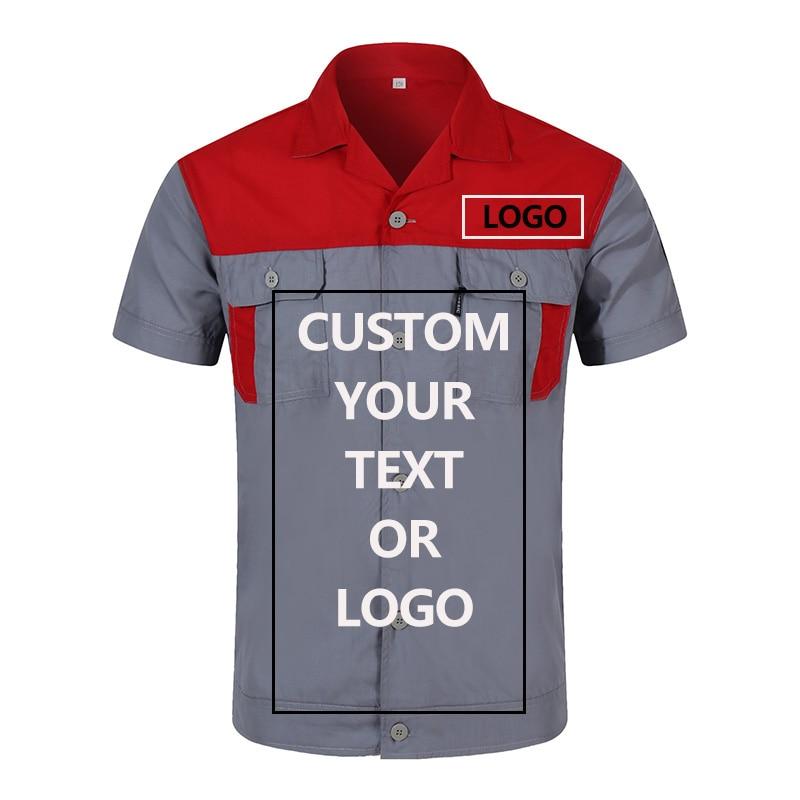 Custom Logo Workwear For Men Tops And Pants Repairman Auto Mechanics High Quality Work Clothing Two Pocket T-shirt