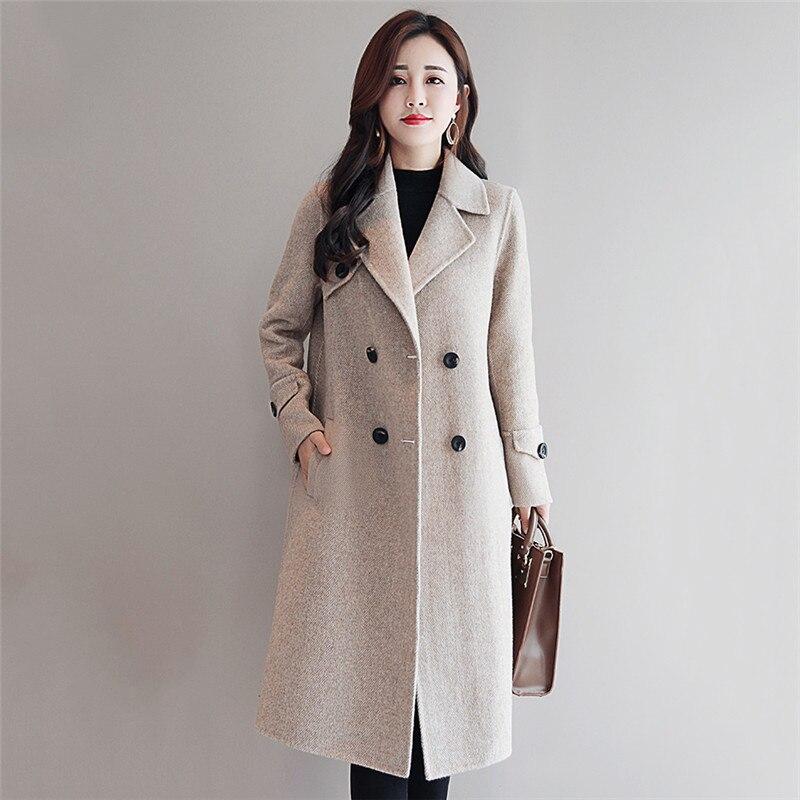 Manteau de laine Hiver Femmes Veste 2018 Nouveau Moyen Long de Haute Qualité Tempérament Survêtement de Double-Breasted Femmes Manteaux De Laine vs34