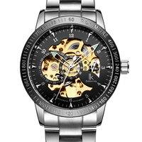 IK Nieuwe Zwarte mannen Skeleton Horloge rvs Antieke Steampunk Casual Automatic Skeleton Mechanische Horloges Mannelijke-in Mechanische Horloges van Horloges op