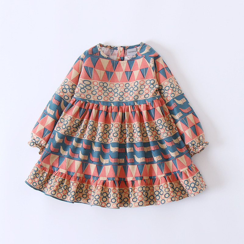 girl casual dress 2018 spring summer Cotton long sleeve Floral printing Kids Dresses For Girls New Vintage Toddler Girl Clothing