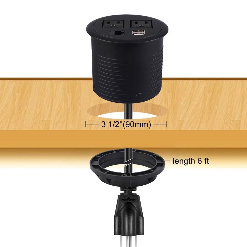 Kungfuking Power Grommet socket 2 Outlet 2 USB 1 RJ45 for Cable Management Slot Office Desk Conference Table kitchen US plug