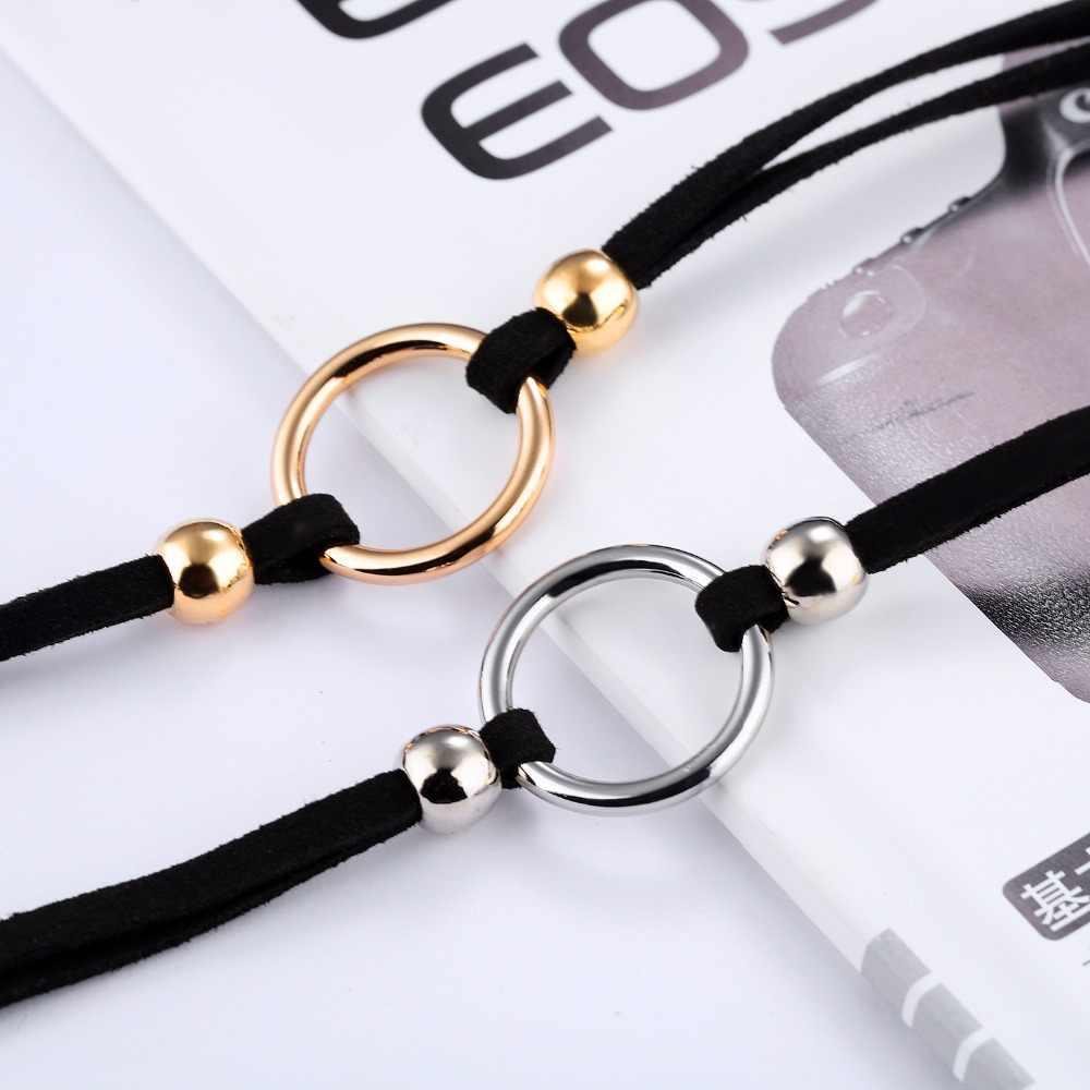Châu Âu phong cách tối giản vòng kim loại khóa Mặt Dây Chuyền cho nam nữ Flannelette cổ áo nữ cá tính tính khí xương đòn dây chuyền