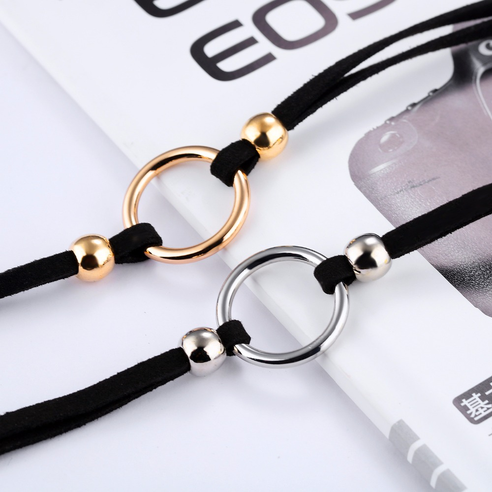 European minimalist style metal ring buckle Pendant all-match flannelette collar female personality temperament clavicle chain