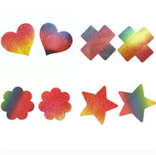 50pairs (100 Pcs) /lot woman Breast Petals flower rainbow Shape Nipple Covers Mermaid small fish scale disposable