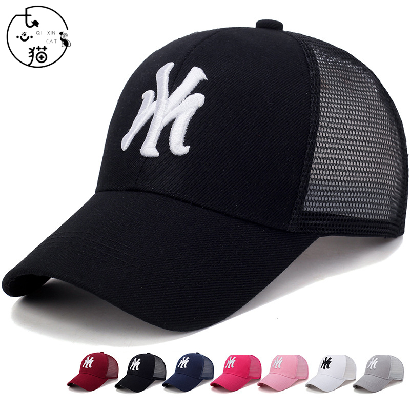 New NY Embroidery   Baseball     Cap   Unisex Adult Cotton Mesh Hat Snapback Trucker Punk Hip Hop   Cap   Summer Fashion Sun-proof Sport   Cap