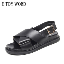 E TOY WORD Women Sandals 2019 New cross sandals women Comfortable gladiator flat Open Toe Leather korean platform