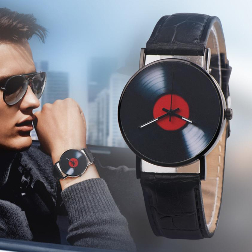 Creative Vinyl Records Fashion Design Men Women Unisex Casual Retro Leather Band Analog Alloy Quartz Wrist Watch xfcs saat clock fashion casual watch men women unisex neutral clock roman numerals wood leather band analog hour quartz wrist watches 7550114 page 8
