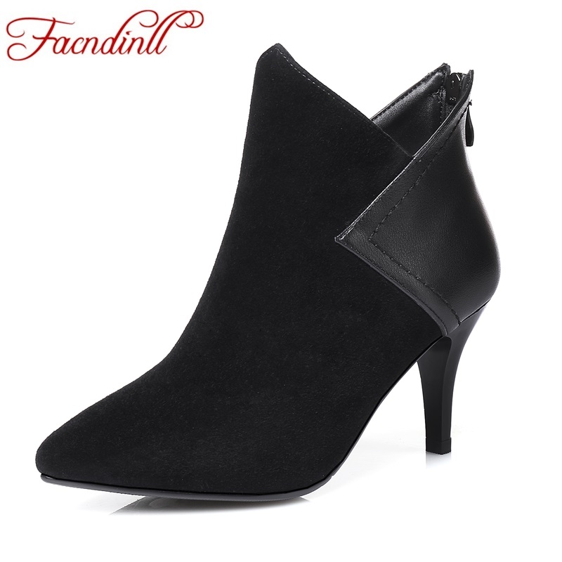 FACNDINLL shoes 2017 new autumn winter women ankle boots thick high heels pointed toe black zipper genuine leather riding boots facndinll women genuine leather ankle boots black red fur leather high heels pointed toe shoes woman autumn winetr riding boots