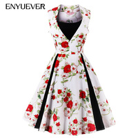 Enyuever Robe Vintage Dress 50s Swing Vestido Rockabilly Retro Christmas Party Floral Dot Plus Size Dresses