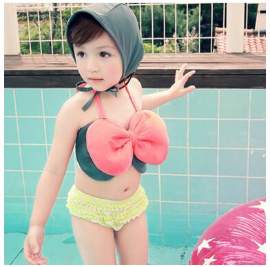 5-8 Years Kid String Bikini For Little Girls Bow Princess Swimwear Children 3pcs Tankinis Set Bathing Suit Girl Strapped Clothes