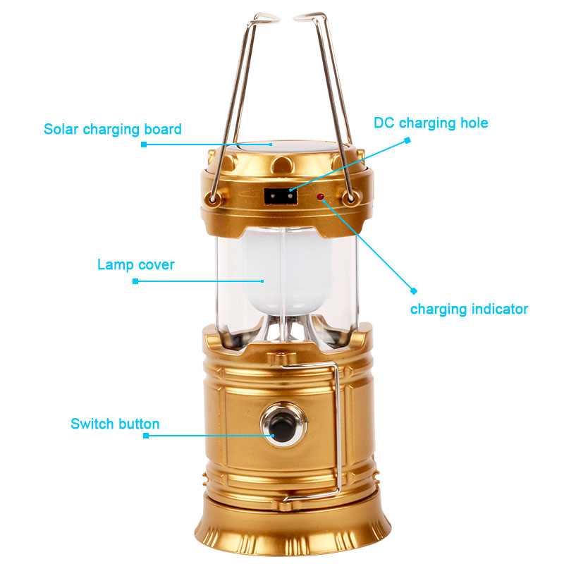 Solar Light Rechargeable Lantern For Camping Hiking Lighting Portable Collapsible Lantern Outdoor Tent Camping Lights Emergency