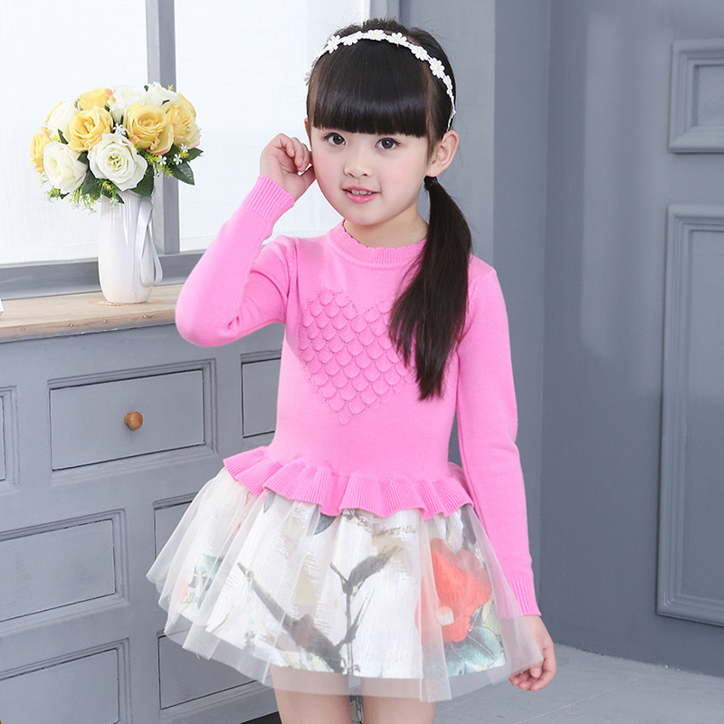 Girls Dress 2018 New Korean Spring and Autumn Children's Knitted Dress Long Sleeve Princess Patchwork Dresses Girls Costume 3-9Y