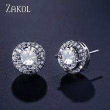 ZAKOL Hot White Clear Round Cut 8mm Round Cubic Zircon Stud Earrings For Women Wedding Jewelry Trendy Crystal Earrings FSEP003