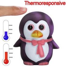 Тепловая Индукционная Температура Изменение цвета Squishies Пингвин jumbo милый медленно поднимающийся Kawaii пищащая игрушка для детей сжимающая игрушка
