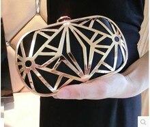 Nuevos productos en Europa y la rejilla de metal taladro determinado bolso femenino del bolso de mano de oro vestido de la novia del partido de cena bolsa