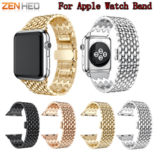 ZENHEO Stainless Steel Metal Watch Band Replacement for Apple Series 3 2 1 with Butterfly Buckle Sport 38/42mm strap