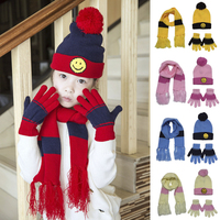 3 Pieces Set Winter Autumn Crochet Baby Hat Girl Boy Cap Scarf And Gloves Set Unisex