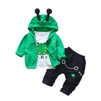 Children Boy Girl Fashion Clothing Sets Spring Autumn Baby Hooded Jacket T Shirt Pants 3Pcs Sets