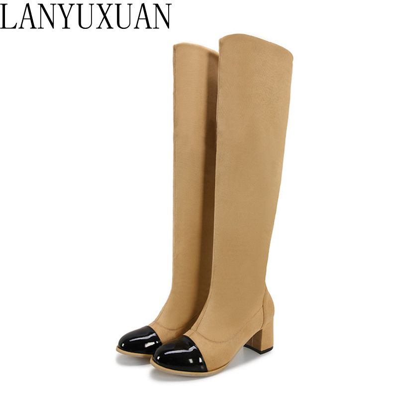 2017 Real Hot Sale Big Size 34-43 Women Overknee High Boots Sexy Heels Round Toe Spring Autumn Winter Shoes High-quality Dl6-25 hot sale big size 32 44 fashion spring autumn women shoes sexy solid pu leather platform ankle strap high heels augz 958