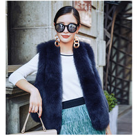 Real Genuine Dark Navy Blue Short Fox Fur Vest Stripes Jacket Coat Sleeveless Parka Gilets Dark