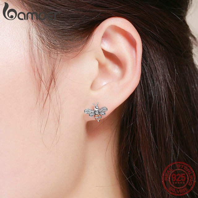 925 Sterling Silver Bee Exquisite Stud Earrings 5