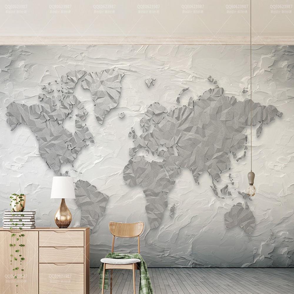 Livraison directe 3D carte du monde pierre ligne papier peint Mural pour fond TV décor Mural HD papier peint rouleau brique papier peint dédouanement