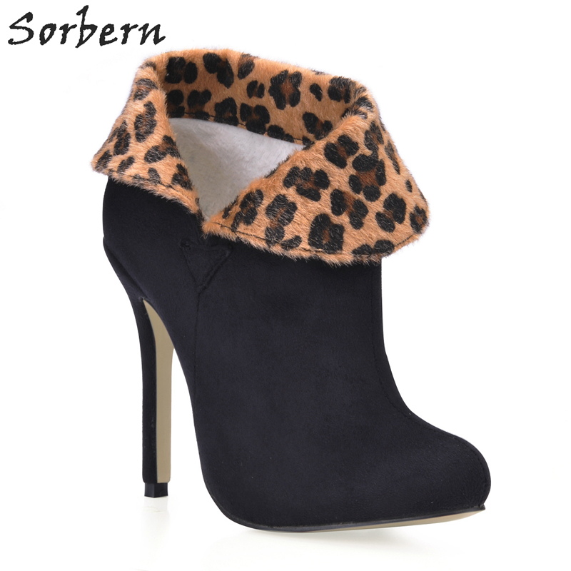 Sorbern Horsehair Leopard Purfle Womens High Heel Ankle Boots Womens Shoes Large Sizes Ankle Boots Buckles Leather Womens womens