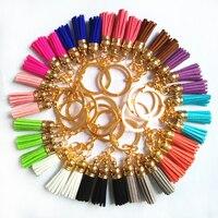 12 sztuk/partia Moda Skórzane Projekt Włókna Superfine 3 Tassel Złoty Ciała Key Ring Breloki Kobiety Torba Uroczy Wisiorek Key Holder