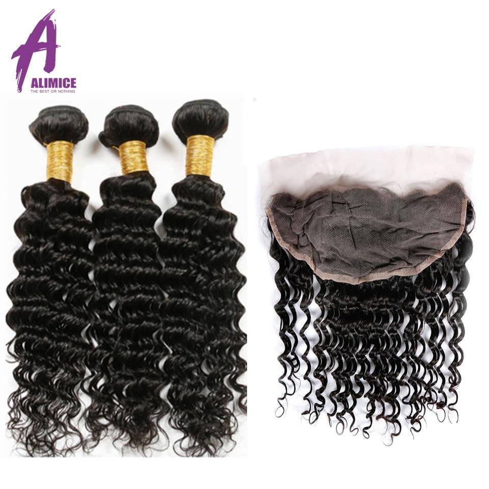 Alimice Brazilian Deep Wave Hair Bundles with Frontal Non Remy Hair 3 Bundles with Frontal Human